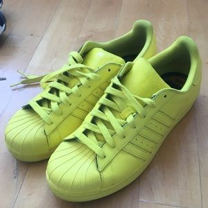 adidas Pharrell Neon Superstar Shell Toe Sneakers